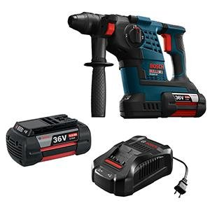 The Bosch sds rotary hammer drill packs a big punch. It comes with a 36v battery to help you tackle larger projects without a single recharge. It also features the quick changing SDS drill bits that are commonly used for masonry and chiseling projects.